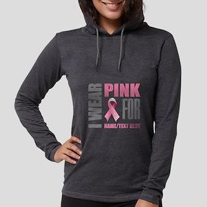Pink Awareness Ribbon Customiz Womens Hooded Shirt