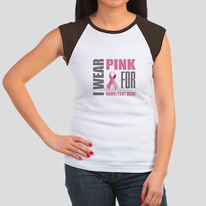 Pink Awareness Ribbon Junior's Cap Sleeve T-Shirt