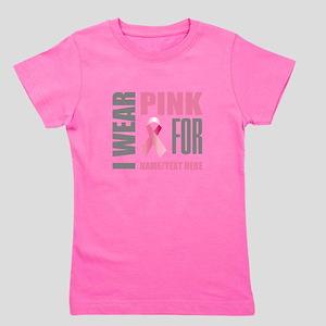 Pink Awareness Ribbon Customized Girl's Tee
