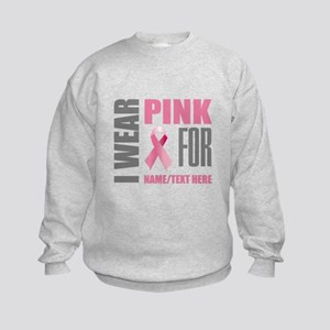 Pink Awareness Ribbon Customized Kids Sweatshirt