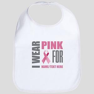 Pink Awareness Ribbon Customized Cotton Baby Bib