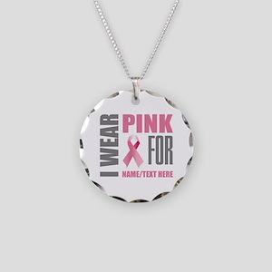 Pink Awareness Ribbon Custom Necklace Circle Charm