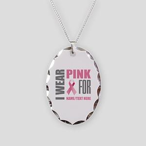 Pink Awareness Ribbon Customiz Necklace Oval Charm
