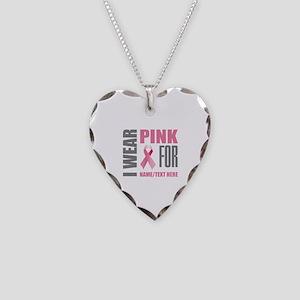 Pink Awareness Ribbon Customi Necklace Heart Charm