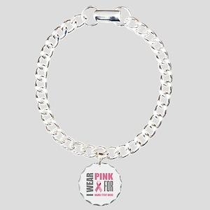 Pink Awareness Ribbon Cu Charm Bracelet, One Charm