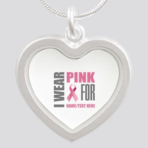 Pink Awareness Ribbon Custom Silver Heart Necklace