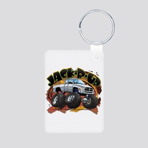 White Jack-R-Up Ram Aluminum Photo Keychain
