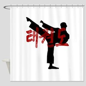 Tae Kwon Do Grunge Hanja Kanji Tee Shower Curtain