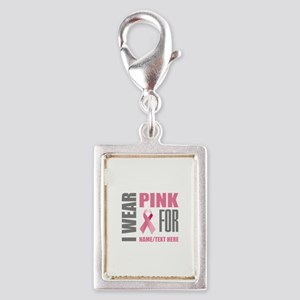 Pink Awareness Ribbon Custom Silver Portrait Charm