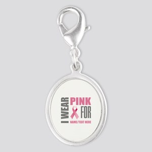 Pink Awareness Ribbon Customize Silver Oval Charm