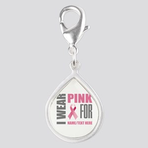 Pink Awareness Ribbon Custo Silver Teardrop Charm