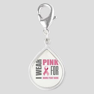 Pink Awareness Ribbon Custo Silver Teardrop Charm