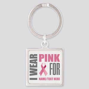 Pink Awareness Ribbon Customized Square Keychain