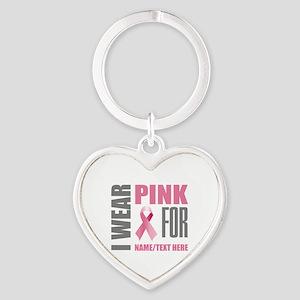 Pink Awareness Ribbon Customized Heart Keychain
