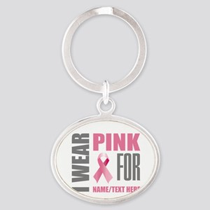 Pink Awareness Ribbon Customized Oval Keychain
