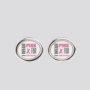 Pink Awareness Ribbon Customized Oval Cufflinks