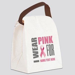 Pink Awareness Ribbon Customized Canvas Lunch Bag
