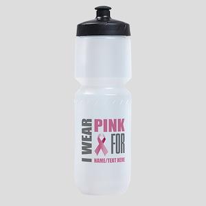 Pink Awareness Ribbon Customized Sports Bottle