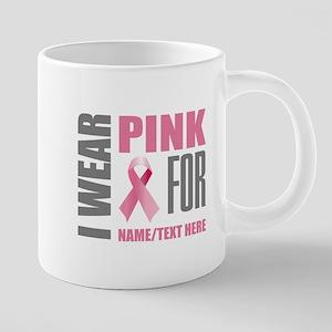 Pink Awareness Ribbon Custo 20 oz Ceramic Mega Mug