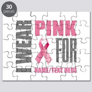Pink Awareness Ribbon Customized Puzzle