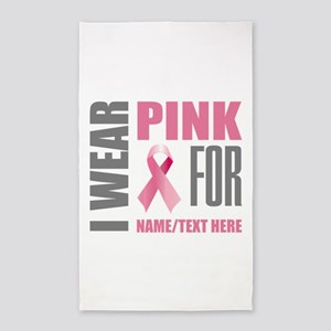 Pink Awareness Ribbon Customized Area Rug