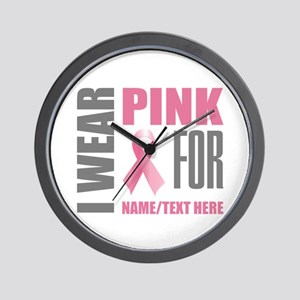 Pink Awareness Ribbon Customized Wall Clock