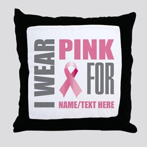 Pink Awareness Ribbon Customized Throw Pillow