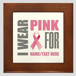 Pink Awareness Ribbon Customized Framed Tile