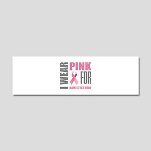Pink Awareness Ribbon Customized Car Magnet 10 x 3