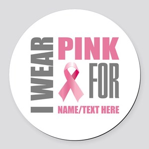 Pink Awareness Ribbon Customized Round Car Magnet