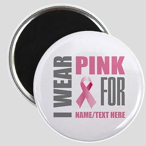Pink Awareness Ribbon Customized Magnet