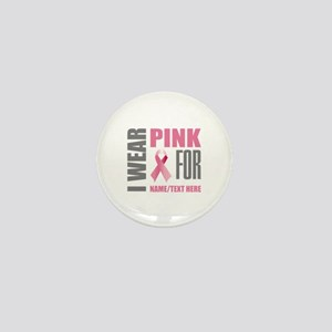 Pink Awareness Ribbon Customized Mini Button