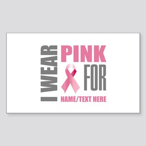 Pink Awareness Ribbon Customiz Sticker (Rectangle)