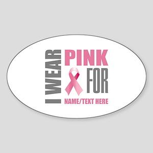 Pink Awareness Ribbon Customized Sticker (Oval)