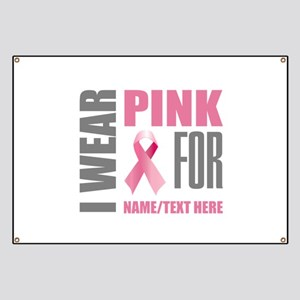 Pink Awareness Ribbon Customized Banner