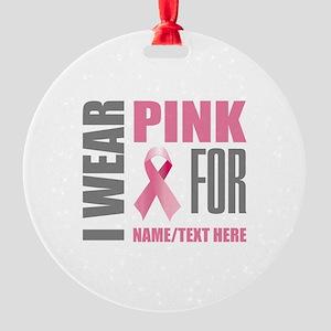 Pink Awareness Ribbon Customized Round Ornament