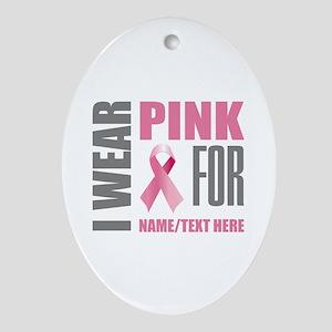 Pink Awareness Ribbon Customized Oval Ornament