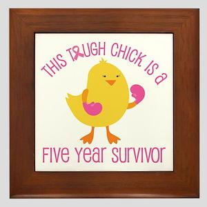 Breast Cancer 5 Year Survivor Chick Framed Tile
