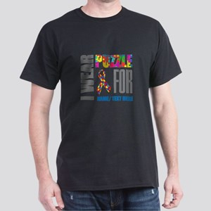 Autism Awareness Ribbon Customized Dark T-Shirt