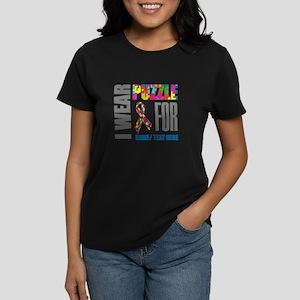 Autism Awareness Ribbon Custo Women's Dark T-Shirt