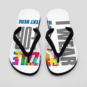 20781bc260b2b Autism Awareness Ribbon Customized Flip Flops