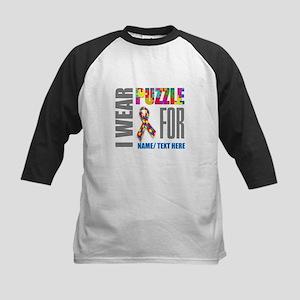 Autism Awareness Ribbon Customiz Kids Baseball Tee
