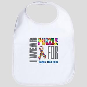 Autism Awareness Ribbon Customized Cotton Baby Bib