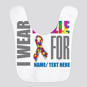 Autism Awareness Ribbon Customi Polyester Baby Bib