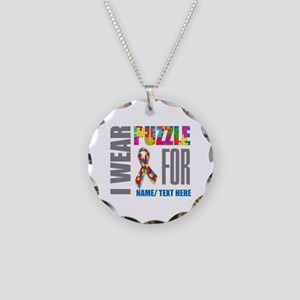 Autism Awareness Ribbon Cust Necklace Circle Charm