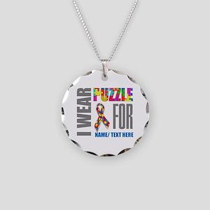 Autism Awareness Ribbon Cust Necklace Circle Charm
