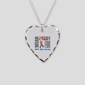 Autism Awareness Ribbon Custo Necklace Heart Charm