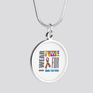 Autism Awareness Ribbon Cust Silver Round Necklace