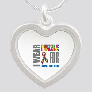 Autism Awareness Ribbon Cust Silver Heart Necklace