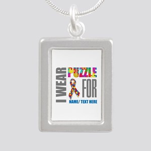 Autism Awareness Ribbon Silver Portrait Necklace